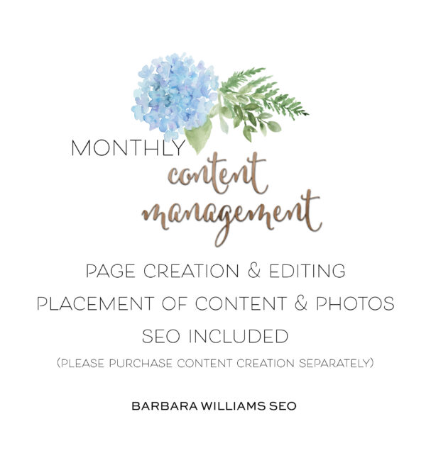 page creation and editing, placement of content and photos, seo included