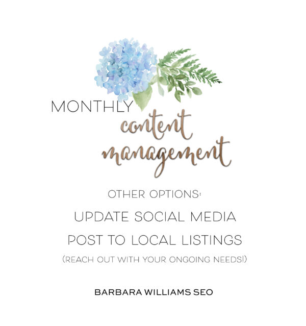 monthly content management update social media, post to local listings